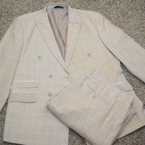 2-PC Double Breasted Caramel/White Checkered Suit